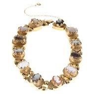 Multicolor 12 Section Cameo 14 Karat Gold Slide Bracelet