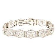 Diamond Platinum 14 Karat White Gold Hinged Filigree Bracelet