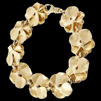 .18 Carat Diamond Flower Yellow Gold Link Bracelet