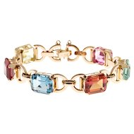 Multi Color Synthetic Stone 18 Karat Rose Gold Bracelet