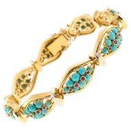 Vintage Persian Turquoise Ruby 18 Karat Yellow Gold Hinged Link Bracelet