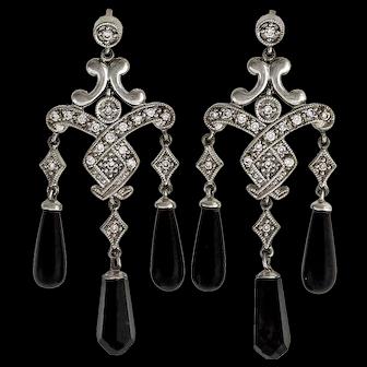 .30 Carat Diamond Onyx 14k White Gold Dangle Chandelier Earrings
