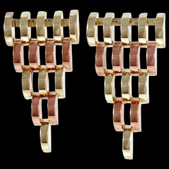 14k Rose Gold Mesh Dangle Earrings