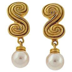 Tiffany & Co 18 Karat Yellow Gold Scroll Pearl Dangle Earrings