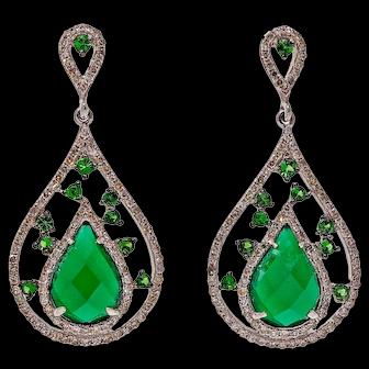 .60 Carat Green Agate Tsavorite Garnet  Diamond 14k White Gold Dangle Earrings