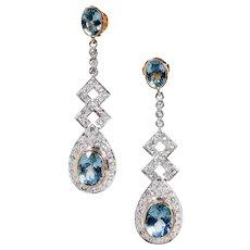 Art Deco Aqua Diamonds 18 Karat Yellow Gold Silver Dangle Drop Earrings