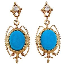 Natural Turquoise Diamond 14 Karat Yellow Gold Chandelier Dangle Earrings
