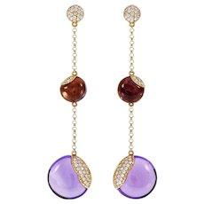 Amethyst Diamond Pavé 18 Karat Rose Gold Dangle Drop Earrings