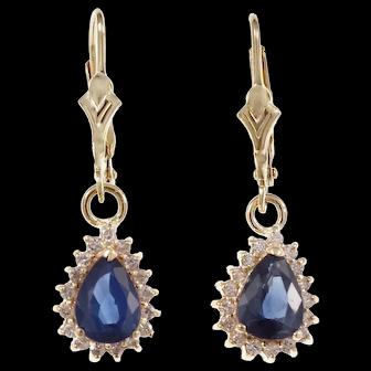 .17 Carat Sapphire Diamond 14k Yellow Gold Dangle Earrings