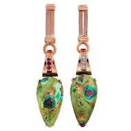 Art Deco Zoisite Ruby Diamond 14 Karat Rose Gold  Dangle Drop Earrings