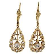 Diamond Art Deco Dangle 14 Karat Yellow Gold Earrings