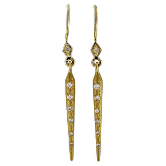 .14 Carat Diamond 20k Yellow Gold Cylinder Dangle Earrings