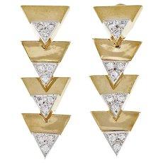 Vintage 1960s Triangle Diamond Dangle Drop 14 Karat Yellow Gold Earrings