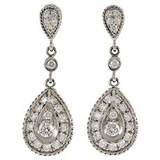 Vintage Diamond Dangle Drop 18 Karat White Gold Earrings