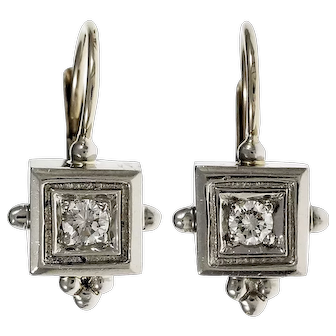 .20 Carat Diamond 14k White Gold Etruscan Style Dangle Earrings