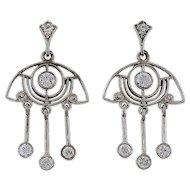 Art Deco Open Work .64ct Diamond Dangle Chandelier Platinum Earrings