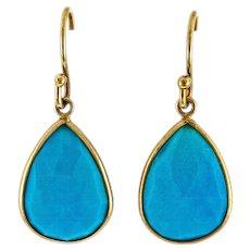 Pear Shape Sleeping Beauty Turquoise 14 Karat Yellow Gold Dangle Earrings