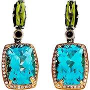 Bellarri Blue Topaz Silver 14 Karat Rose Gold Diamond Peridot Dangle Earrings
