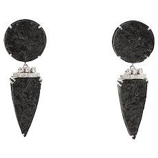 Black Tourmaline Diamonds 14 Karat White Gold Dangle Earrings