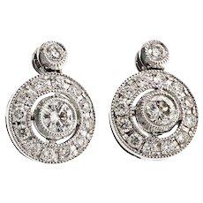 Estate Diamond 18 Karat White Gold Cluster Stud Earrings
