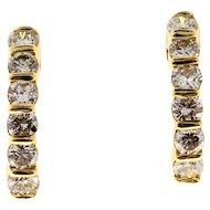 1960s Diamond Semi Hoop 14 Karat Yellow Gold Earrings