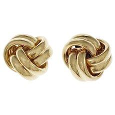 Love Knot 14 Karat Yellow Gold Stud Earrings