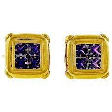 5.00ct  Amethyst Clip Post Italian 14 Yellow Gold Stud Earrings