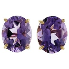 Purple Oval Amethyst 14k Yellow Gold Stud Earrings