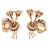 14 Karat Rose Gold Double Flower Art Deco Earrings