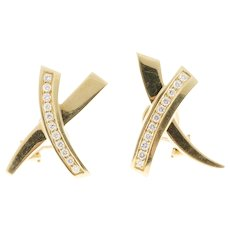 "Tiffany & Co Paloma Picasso Diamond ""X"" Design Earrings"