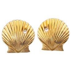 Tiffany & Co 14k Yellow Gold Shell Pearl Earrings