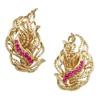 Tiffany & Co Flame Ruby 18k Yellow Gold Earrings