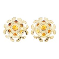 Tiffany & Co Citrine Cabochon 18k Yellow Gold Clip Post Earrings