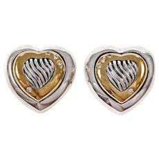David Yurman Thoroughbred Diamond Silver 18k 14k Yellow Gold Heart Stud Earrings