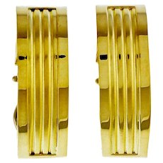 Vintage 1960's 18k Yellow Gold Clip Post Earrings