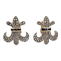 1900 Fleur De Lis Diamond 14k Yellow Gold Silver Clip Post Earrings