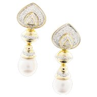 South Sea Cultured Pearl Diamond 18 Karat Gold Dangle Earrings