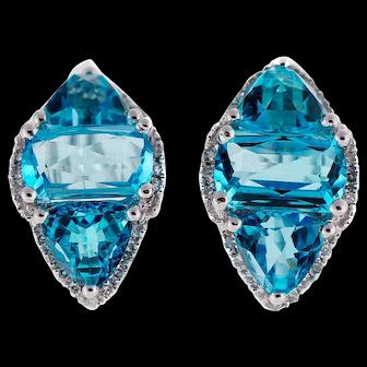 9.00 Carat Blue Topaz Diamond 14k White Gold  Clip Post Earrings