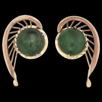 GIA Certified 2.50ct Jadeite Jade 14k Yellow Gold Fan Earrings