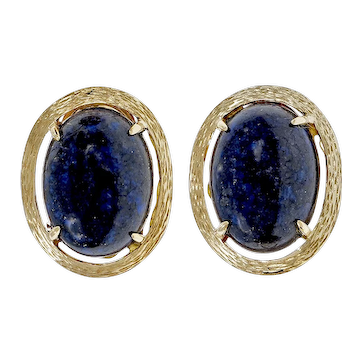 Oval Lapis Cabochon 14k Yellow Gold Textured Earrings