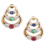 Cabochon Ruby Emerald Sapphire Pave Diamond Hinged Crescent 18 Karat Gold Dangle Earrings
