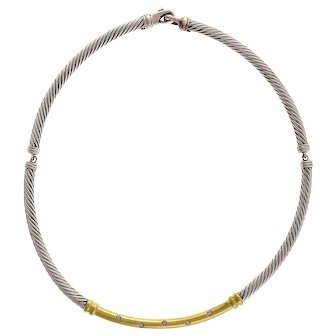 David Yurman Metro Choker Diamond Silver 14k Yellow Gold Necklace