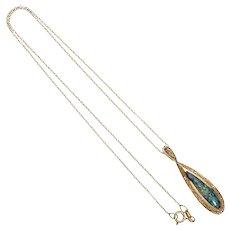 Kabana Opal Diamond 14 Karat Yellow Gold Pendant Necklace