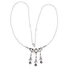 1940s Lavaliere Diamond 14 Karat White Gold Dangle Pendant Necklace