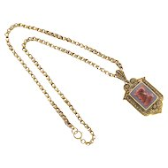 Antique Carnelian Hardstone 14 Karat Gold Pendant Locket 1850s Necklace