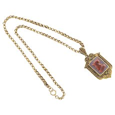Antique Carnelian Hardstone 14 Karat Gold Pendant Locket 1850s Necklace