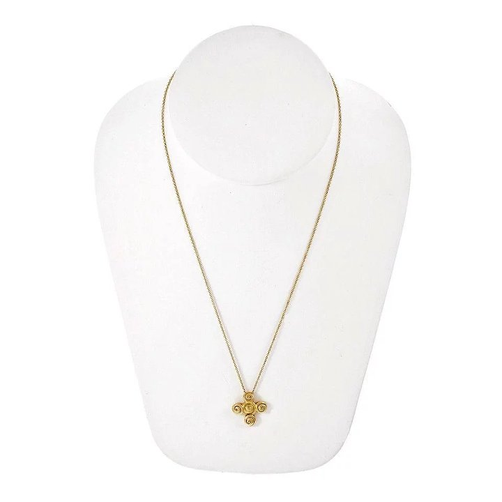 e41282506ddb Tiffany   Co Spiro Swirl Rosebud Cross 18 Karat Yellow Gold Pendant Necklace