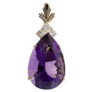 Pear Purple Amethyst Diamond 14 Karat Gold Enhancer Pendant