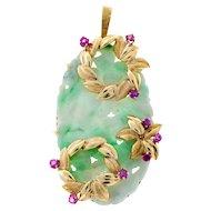 Jadeite Jade Ruby 18 Karat Yellow Gold Hand Carved Floral Pendant