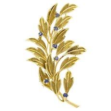 Tiffany & Co Sapphire 18k Yellow Gold Leaf Brooch